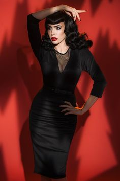 Glamorous unique black dress with long sleeves | Pinup Girl Clothing