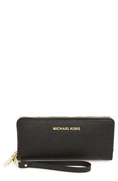 MICHAEL MICHAEL KORS 'Jet Set' Travel Wallet. #michaelmichaelkors #bags #shoulder bags #wallet #leather #accessory