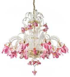 """Delizia"" 8 lights pink flowers Murano glass chandelier - traditional - Chandeliers - Other Metro - Murano Glass Chandeliers"
