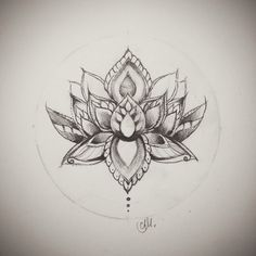 geometric line work tattoo lotus flower - Google Search