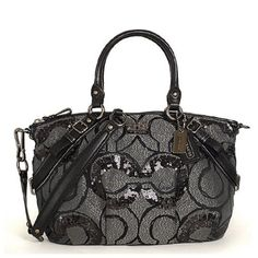 Coach Limited Edition Madison Signature Op Art Sequin Satchel Bag Purse 15945 Black Silver, http://www.amazon.com/dp/B004CG964Y/ref=cm_sw_r_pi_awd_Fof.rb0MQMH3T