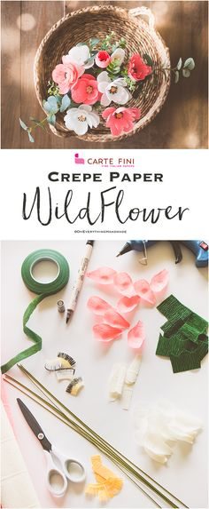 A Wildlfower bouquet by Oh everything Handmade - Learn how to make paper flowers diy. You can bundle them up make a beautiful paper flower bouquet or even paper flower wall art! There are so many incredible crafts ideas to help you make your own paper flo