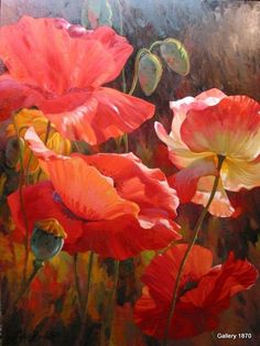"Although no title or artist is listed with this image, I believe it to be the work of Leon Roulette, who has painted many stunning ""poppy portraits."" Such a happy flower! Source was jpeg. *"
