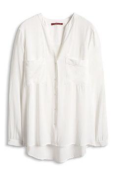 EDC / Langärmlige Bluse mit V-Ausschnitt