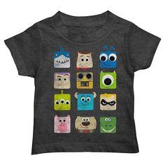 Disney / Pixar Character Squares Toddler Boy Graphic Tee, Grey (Charcoal)