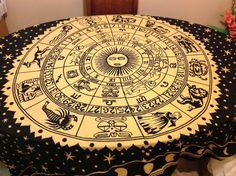 "Zodiak Horoscope Print Tapestry Linen Table Cloth Fabric 108"" rectangle"