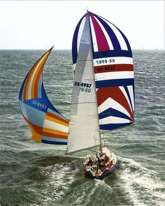 Sailing Photo Of The Day - Bravura Flying Spinnaker and Blooper, 1984 SORC - Messing About In Sailboats Remo, Yacht Boat, Sail Away, Set Sail, Wooden Boats, Tall Ships, Catamaran, Water Crafts, Canoe
