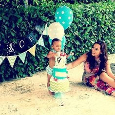 Adrienne Bosh and her son, Jackson, sharing a sweet moment during his 1st birthday. Happy Mother's Day, Mrs. Bosh! #Adrienne Bosh #Jackson #Chris Bosh #Birthday #Mother's day #Baby #Boy