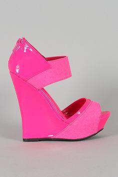Liliana Mallika-13 Neon Open Toe Wedge $30.80