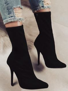 Stylish Pointed Toe Side Zipper Heeled Boots