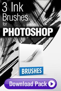 Photoshop Brushes: 3 Ink Brushes for Photoshop http://pixelstains.net/3-ink-brushes-photoshop/
