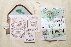 Amy and Chad's wedding invitation set, prepared for their wedding adventure in Hawaii. Hand drawn and letterpressed.