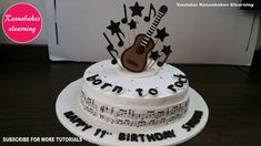 Marvelous Music Cake Decorating Ideas for Guitar Music Theme Birthday Cakes For Girl Boy Design Ideas Decorating Tutorial Classes Video Picture 10th Birthday Cakes For Girls, Guitar Birthday Cakes, Guitar Cake, Frozen Birthday Cake, Happy Birthday Cakes, Teen Birthday, 11th Birthday, Birthday Ideas, Simple Birthday Cake Designs