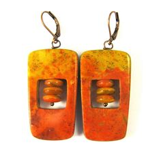 Fabulous Faux Collection - Fire Agate Retro Earrings with Czech Glass Beads   Flickr - Photo Sharing!