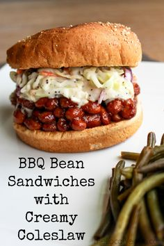 BBQ Bean Sandwiches topped with Creamy Coleslaw     * 1/2 small head of cabbage     * 1 carrot     * 1/2 cup vegan mayonnaise (my go-to is Just Mayo)     * 2-3 tablespoons of sugar (depending on how sweet you prefer it)     * 2 tbsp apple cider vinegar     * 1/2 tbsp ...