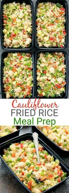 Chicken Cauliflower Fried Rice Weekly Meal Prep. Low carb, gluten free, easy and flavorful.