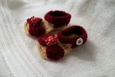 Handmade Crochet Red Baby Sandals by HaldaneCreations on Etsy, $7.00