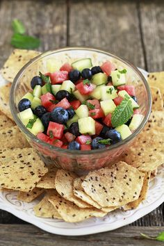 Refreshing Minted Watermelon, Cucumber, and Blueberry Salad Recipe for July 4th. Delicious on chips or fish.  #healthy #vegan
