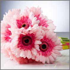 "Pink Gerbera Daisy Bridal Bouquet | ""Simply Gerbera"" in Pink | Wedding Bouquet of Gerbera Daisies"