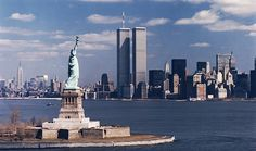 The World Trade Center Twin Towers as a background for the Statue of Liberty.  It just can't get any better than this.  So sad the Towers are gone, NYC will never be the same.