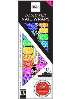 Onch Sketchbook - Thin self adhesive nail wraps in bright colors! These energetic doodles will entice you to engage in sketchy behavior, but you'll still end up looking like a fine work of art.