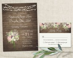Rustic floral country wedding invitations with a watercolor bouquet of babys breath, peonies and more, designed with the spring, summer or fall wedding in mind. The wedding invitation has a barn wood background with a bouquet of babys breath, anemone, cream and blush roses and hanging leaves, finished with strings of flicker lights in the background and contemporary fonts and stylings. This rustic country chic wedding invite is great for outdoor weddings, barn weddings, country weddings…