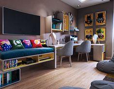 New home decored bedroom teenager teen boys room ideas 48 Ideas Bedroom Wall Colors, Boys Bedroom Decor, Small Room Bedroom, Trendy Bedroom, Home Bedroom, Dream Bedroom, Game Room Decor, Room Setup, Game Rooms