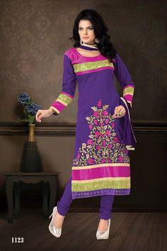 Purple Cotton Party Wear Salwar Kameez with Dupatta