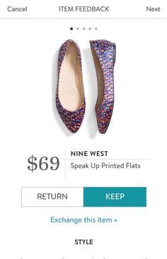 NINE WEST Speak Up Printed Flats from Stitch Fix. https://www.stitchfix.com/referral/4292370