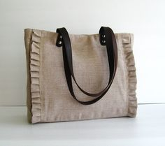 Sale - Natural Color Linen Tote, purse, shoulder bag, ruffles, messenger, pleats, durable - Sweety