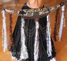 Feathery Fringe Belly Dance Bra and Belt  SET with Tassels  Guchi Gypsy Tribal