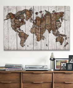 Look what I found on #zulily! Wood Map Wrapped Canvas by  #zulilyfinds
