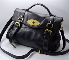AUTHENTICATED  MULBERRY satchel BAG black ALEXA dustbag gold hardware  authentic  Mulberry  Satchel 4a9863e866c14