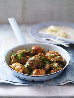 Chicken chasseur is a classic French recipe made with chicken thighs, white wine, fresh herbs and mushrooms.