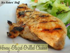 Honey-Glazed Grilled Chicken- only 4 ingredients needed to marinade this delicious chicken! SixSistersStuff.com #chicken #recipe