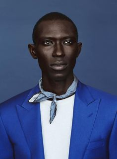 """vmagazine: """" 'Blue Note' - Model: Armando Cabral - Photographer: Billy Kidd - Fashion Editor/Stylist: Benjamin Sturgill - Details Magazine May 2014 """"From cobalt, to teal, Yves Klein to azure, a familiar color looks effortlessly modern, especially. Details Magazine, V Magazine, Billy Kidd, Portrait Photography, Fashion Photography, Heart Photography, Color Photography, Afro, Winter Typ"""
