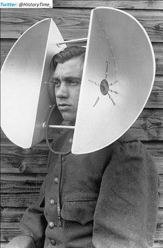 Dual head mounted listening device, 1940s. Strange and unusual