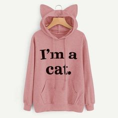2018 Women Casual Hoodies Sweatshirt Long Sleeve Hoody Cat Ears I AM A CAT Printed Hoodies Tracksuit Jumper Outwear Top