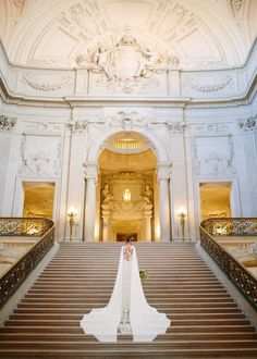 Grecian San Francisco City Hall Wedding Editorial hall wedding dresses winter When the Dress Looks Like THIS, It Sets the Tone for the Day Winter Engagement Pictures, Wedding Couple Poses Photography, City Hall Wedding, Wedding Venues, San Francisco City, Courthouse Wedding, Bridal Portraits, Bridal Style, Editorial
