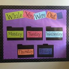 Here's a way to organize weekly work so that absent students can easily find what they missed! Would possibly do a crate instead of bulletin board. Classroom Organisation, Teacher Organization, Teacher Tools, Teacher Hacks, Classroom Management, Teacher Resources, Teaching Ideas, Teacher Stuff, Organised Teacher