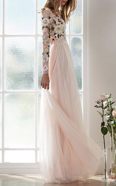 Pink Floral Cluster Gown by Needle & Thread | Moda Operandi