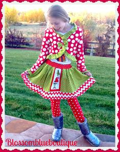 girls custom Christmas The Grinch Cindy Lou by BlossomBlueBoutique, $49.99