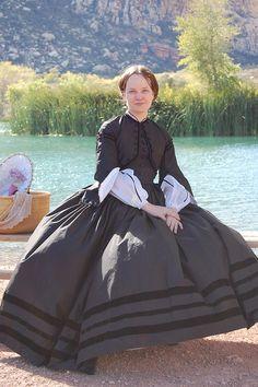 1860's Fashionable Mourning Dress, Silk and Velvet