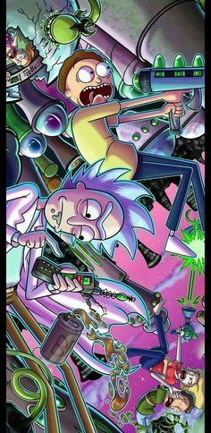 Cartoon Wallpaper, Acid Wallpaper, Crazy Wallpaper, Hipster Wallpaper, Trippy Wallpaper, Wallpaper Backgrounds, Phone Backgrounds, Rick Und Morty Tattoo, Rick And Morty Drawing