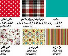 Fabric pattern names in Farsi
