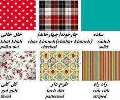 Fabric pattern names in Farsi