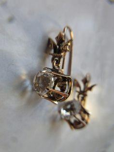 Victorian 10K Paste Pierced Earrings   Antique Earrings