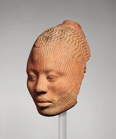 Yoruba Female (12th–15th century)  Geography: Nigeria, Ife  Culture: Yoruba peoples.   Medium: Terracotta, 21.6 x 13.3 cm