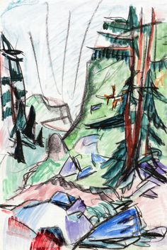 Mountain Landscape, by Ernst Ludwig Kirchner.c.1924