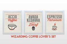 Unframed prints on high quality paper with archival fade-resistant inks.    Harry Potter Print Set - 3 Set Poster Prints - Wizarding Coffee Lovers Set